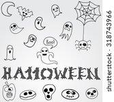 doodle halloween holiday... | Shutterstock .eps vector #318743966