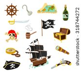Pirate Accessories Flat Icons...