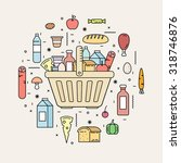 shopping basket with food... | Shutterstock .eps vector #318746876