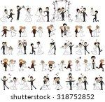 set of wedding pictures  bride...   Shutterstock .eps vector #318752852