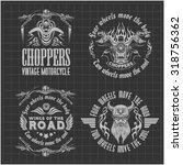 vintage motorcycle labels ... | Shutterstock .eps vector #318756362