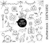 halloween symbols. hand drawn... | Shutterstock .eps vector #318761852
