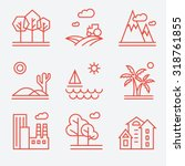 landscape icons  thin line... | Shutterstock .eps vector #318761855