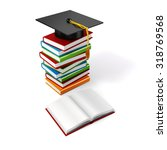 3d books and student cap on... | Shutterstock . vector #318769568