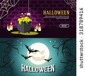 set of halloween web banners....   Shutterstock .eps vector #318789416