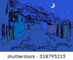 street of the old town at night.... | Shutterstock .eps vector #318795215