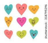 funny happy smiley hearts. cute ... | Shutterstock .eps vector #318795296