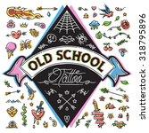 funny old school tattoo set.... | Shutterstock .eps vector #318795896