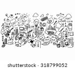 close up of man hand drawing... | Shutterstock . vector #318799052