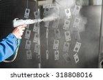 powder coating of metal parts | Shutterstock . vector #318808016