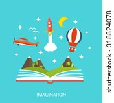 reading book  imagination... | Shutterstock .eps vector #318824078