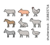painted outline figures of farm ... | Shutterstock .eps vector #318825716