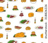 hand drawn vector seamless meal ... | Shutterstock .eps vector #318826226