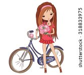 girl with bicycle at the walk.... | Shutterstock .eps vector #318833975