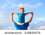 happy father and little son on... | Shutterstock . vector #318856076
