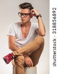 close up with young male... | Shutterstock . vector #318856892