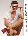 young smart men looking... | Shutterstock . vector #318856922