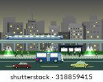 cityscape at night with train ... | Shutterstock .eps vector #318859415