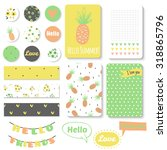 set of bright hand drawn cards... | Shutterstock .eps vector #318865796