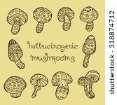 hallucinogenic mushrooms vector ... | Shutterstock .eps vector #318874712