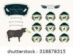 set of butcher shop logos ... | Shutterstock .eps vector #318878315