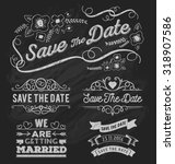 set of save the date typography ... | Shutterstock .eps vector #318907586