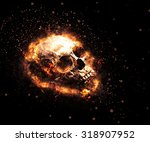 macabre flaming skull with... | Shutterstock . vector #318907952