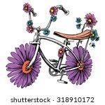 bike with flowers cute design... | Shutterstock .eps vector #318910172