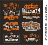 set of halloween typographic... | Shutterstock .eps vector #318910862
