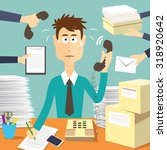 man secretary hard working.... | Shutterstock .eps vector #318920642
