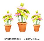 plastic flowers in a pot | Shutterstock . vector #318924512