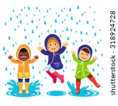 kids in raincoats and rubber... | Shutterstock .eps vector #318924728