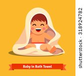 happy baby boy toddler wrapped... | Shutterstock .eps vector #318924782