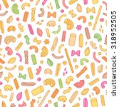 Colorful Pasta Vector Seamless...