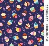 cute little cupcakes seamless... | Shutterstock .eps vector #318955112