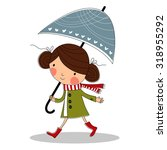 Cute Girl With Umbrella....