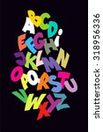 bright abstract comic font.... | Shutterstock .eps vector #318956336