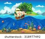 cartoon underwater world with... | Shutterstock .eps vector #318977492