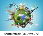 small planet with landmarks... | Shutterstock . vector #318996272