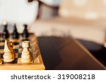 closeup of chess horse and rook | Shutterstock . vector #319008218