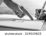 Monochrome Image Of Male Hand...