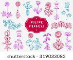 doodles flowers. decor elements.... | Shutterstock .eps vector #319033082