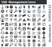 100 management icons set  black ...