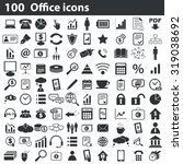100 office icons set  black  on ... | Shutterstock . vector #319038692