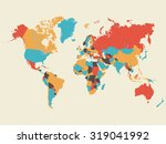 colorful world map illustration | Shutterstock .eps vector #319041992