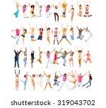 team achievement jumping... | Shutterstock . vector #319043702