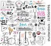 music items doodle icons set.... | Shutterstock .eps vector #319064996