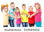 group of happy kids with thumb... | Shutterstock . vector #319069652