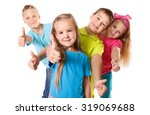 group of happy kids with thumb... | Shutterstock . vector #319069688