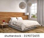 bedroom with wood trim. 3d... | Shutterstock . vector #319072655